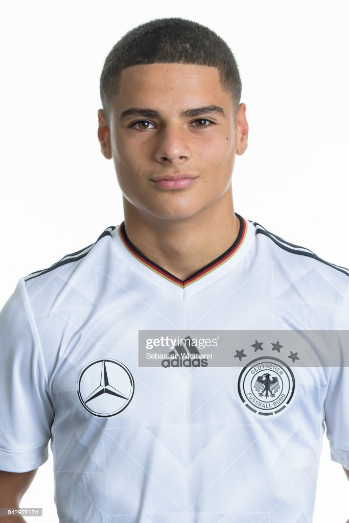 Can Bozdogan poses during the Germany U17 team presentation on September 5, 2017 in Haarbach, Germany.