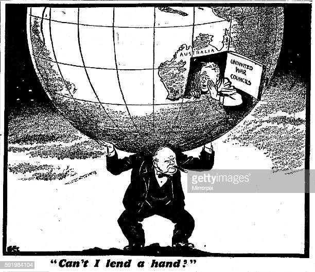 Can I lend a hand Daily Mirror 3rd January 1942 Philip Zec cartoon depicting Winston Churchill carrying the world on his shoulders with Australian...