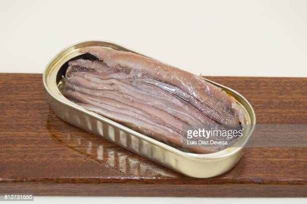 can of  anchovies  in olive oil