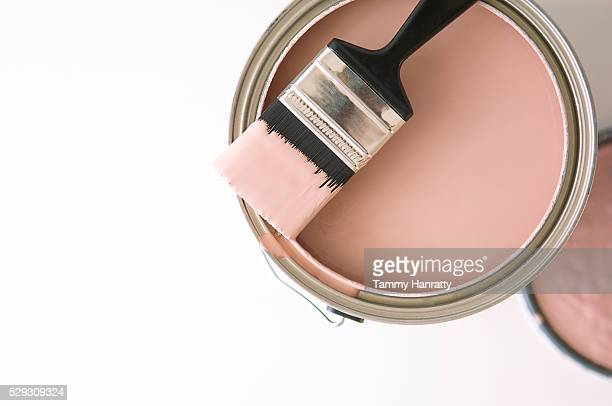 Can of pink paint and paintbrush