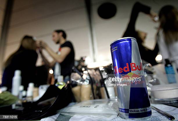 A can of Red Bull sits backstage whilst hairdressers work at London Fashion Week in the BFC tent on February 13 2007 in London England