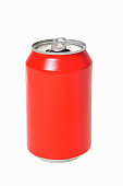 can of red drink on white background
