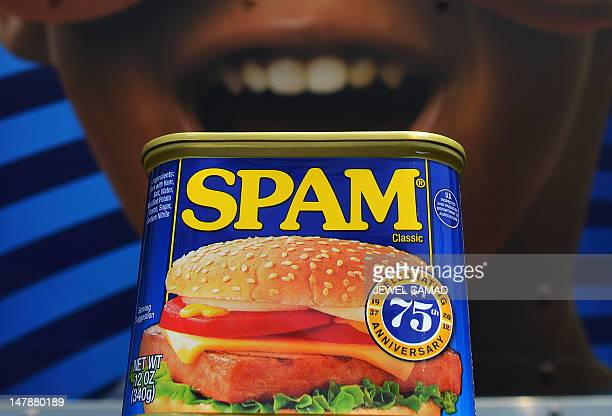 A can of Spam meat made by the Hormel Foods Corporation is pictured outside a store in front of a delivery truck in Silver Spring Maryland on July 5...