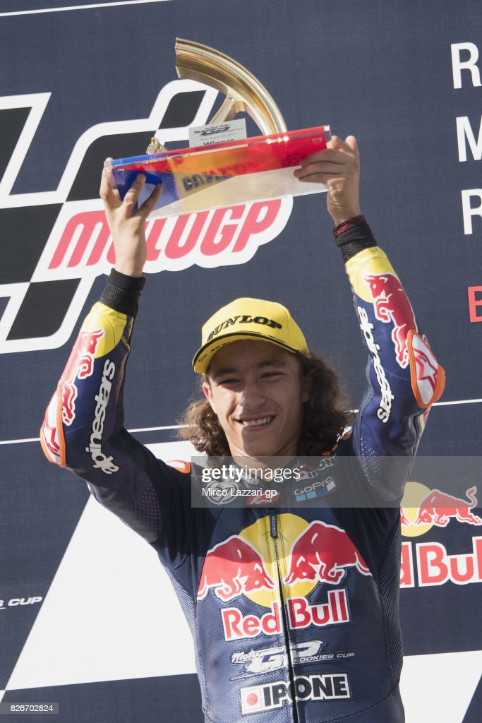 Can Oncu of Turkey celebrates the victory at the end of the RokiesCup race during the MotoGp of Czech Republic - Qualifying at Brno Circuit on August 5, 2017 in Brno, Czech Republic.