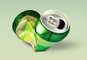 Crumpled metal can on light background