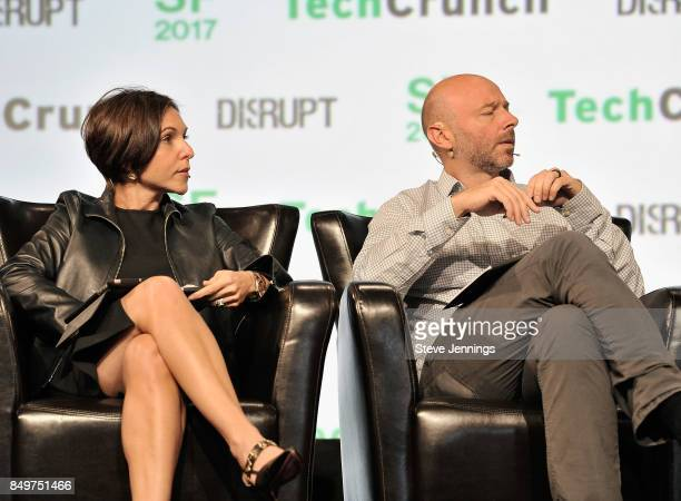 Canaan Partners General Partner Nina Kjellson and CrunchFund General Partner Patrick Gallagher judge the Startup Battlefield Competition during...