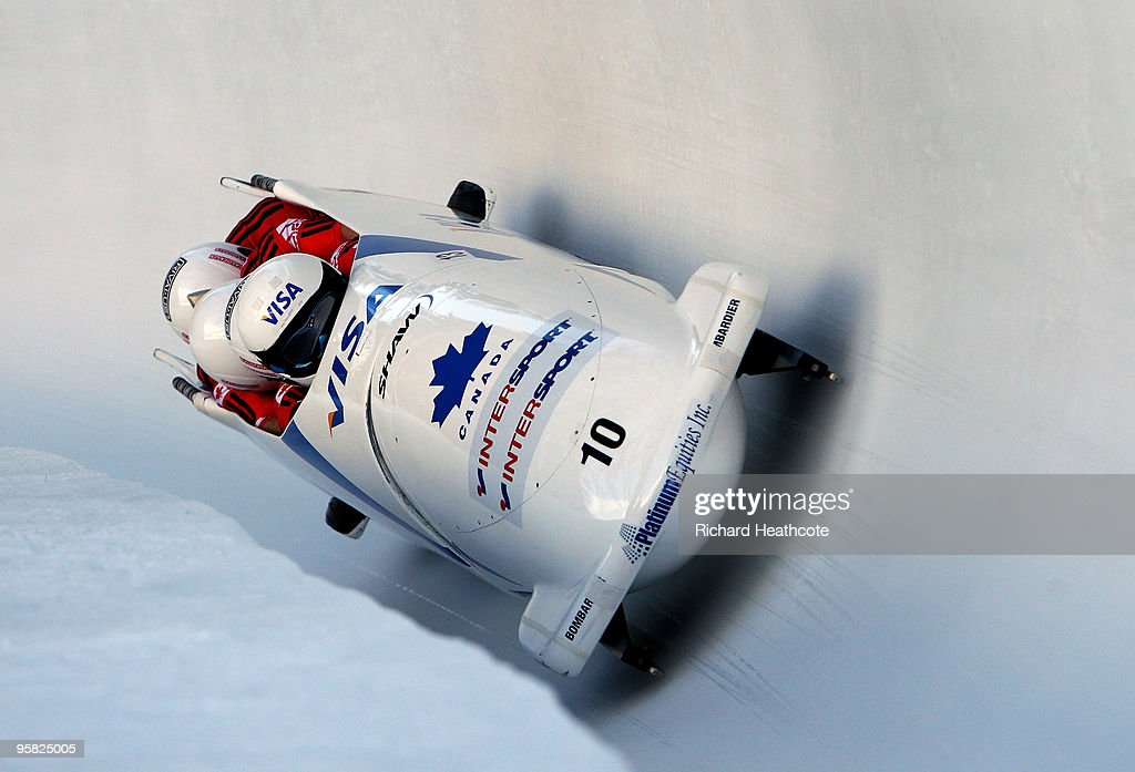 Canada 2 driven by <a gi-track='captionPersonalityLinkClicked' href=/galleries/search?phrase=Pierre+Lueders&family=editorial&specificpeople=211058 ng-click='$event.stopPropagation()'>Pierre Lueders</a> in action during the four man FIBT Bobsliegh World Cup round 7 race at the Olympia Bobrun on January 17, 2010 in St Moritz, Switzerland.