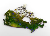 3D rendering of extruded high-resolution physical map (with relief) of Canada, isolated on white background. Modeled and rendered with Houdini 16.5 Satellite image from NASA: https://visibleearth.nasa