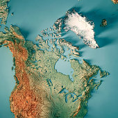 3D Render of a Topographic Map of Canada. All source data is in the public domain. Color texture: Made with Natural Earth.  http://www.naturalearthdata.com/downloads/10m-raster-data/10m-cross-blend-hy