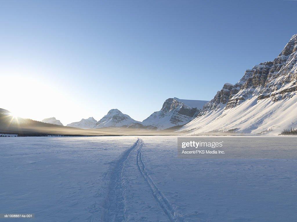 Canada, Alberta, Banff National Park, Bow lake during winter : Stock Photo