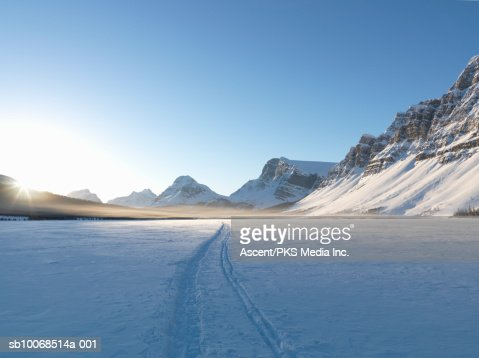 Canada, Alberta, Banff National Park, Bow lake during winter : Stock Photo