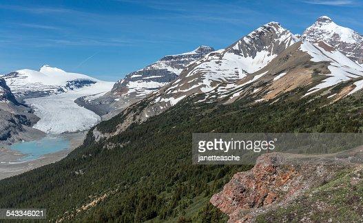 Canada, Alberta, Banff National Park, Saskatchewan Glacier and Valley, Canadian Rockies, Hiker looking at view from mountain