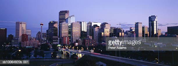 Canada, Alberta, Calgary downtown skyline at dusk