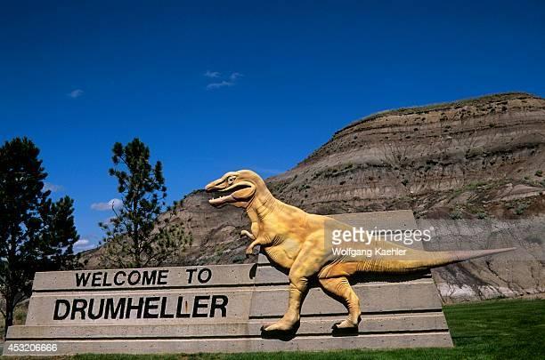 Canada Alberta Drumheller Welcome Sign Dinosaur Statue