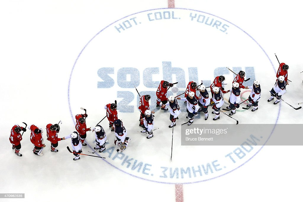 Canada and the United States shake hands after Canada defeated the United States 1-0 during the Men's Ice Hockey Semifinal Playoff on Day 14 of the 2014 Sochi Winter Olympics at Bolshoy Ice Dome on February 21, 2014 in Sochi, Russia.