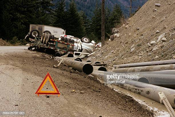 Canada, British Columbia, overturned truck on Highway 1