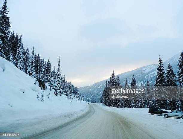 Canada, British Columbia, Snowy road in mountains