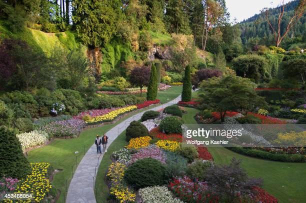 Canada British Columbia Vancouver Island Near Victoria Butchart Gardens View Of Sunken Garden