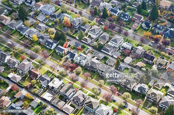 Canada, British Columbia, Vancouver, suburban neighbourhood, aerial view