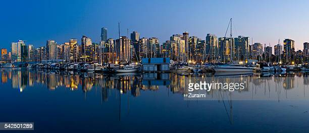 Canada, British Columbia, Vancouver, View of cityscape at sunrise