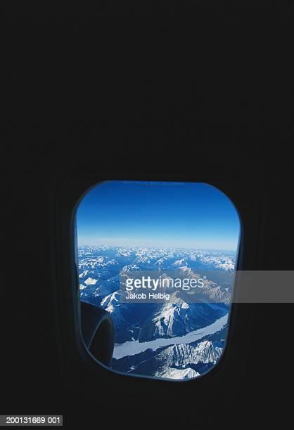 Canada, Calgary, mountains viewed through aeroplane window