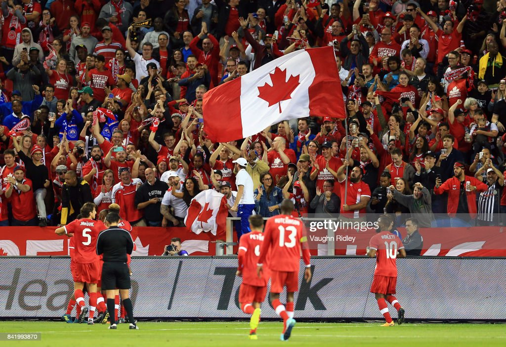 Canada celebrate their second goal by Jonathan Osorio #21 during the first half of an International Friendly match against Jamaica at BMO Field on September 2, 2017 in Toronto, Canada.