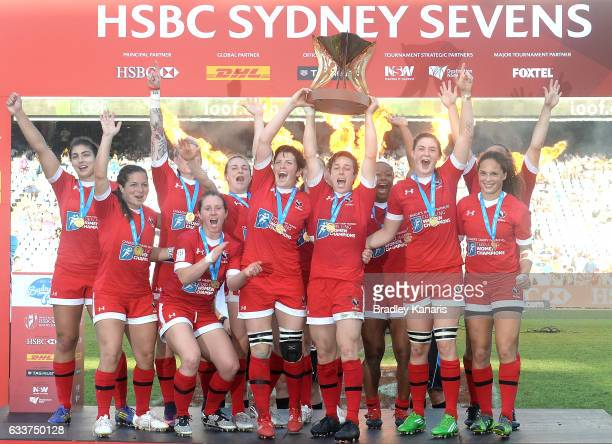 Canada celebrate victory after winning the Women's Final match between Canada and USA in the 2017 HSBC Sydney Sevens at Allianz Stadium on February 4...