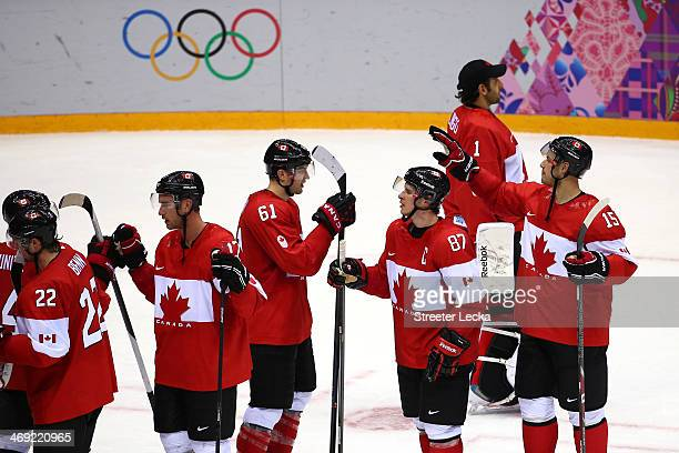 Canada celebrates after beating Norway 31 during the Men's Ice Hockey Preliminary Round Group B game on day six of the Sochi 2014 Winter Olympics at...