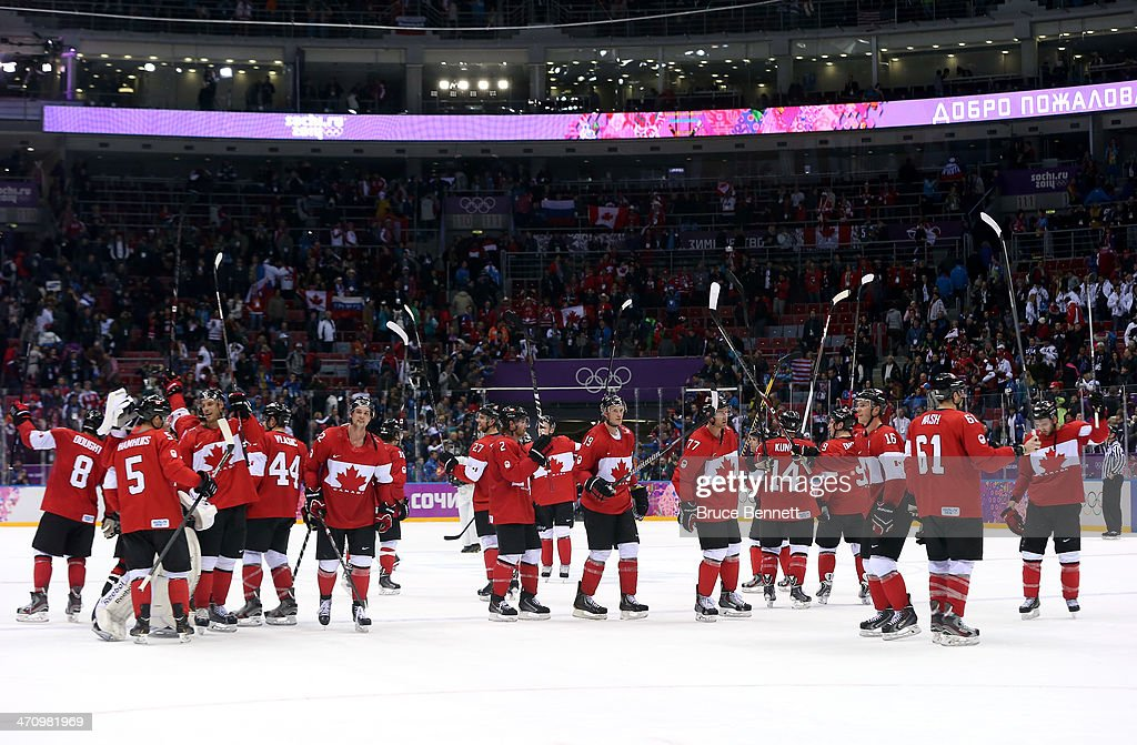 Canada celebrates after defeating the United States 1-0 during the Men's Ice Hockey Semifinal Playoff on Day 14 of the 2014 Sochi Winter Olympics at Bolshoy Ice Dome on February 21, 2014 in Sochi, Russia.