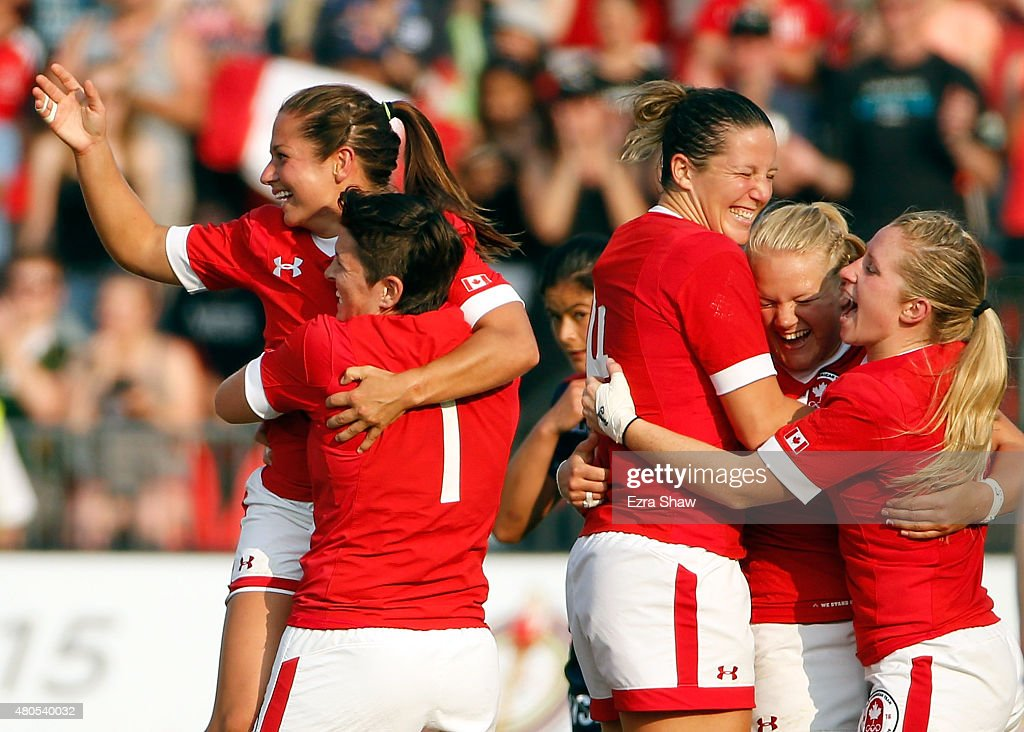Canada celebrates after they beat the United States to win the gold medal in the women's Rugby 7 competition on Day 2 of the Toronto 2015 Pan Am Games on July 12, 2015 in Toronto, Canada.