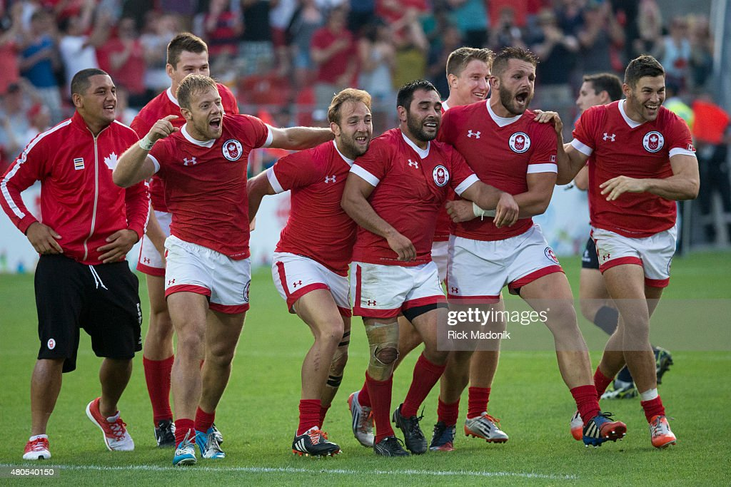 TORONTO, - JULY 12, 2015 - Canada celebrates as they win the Gold. Men's Gold medal match between Canada and Argentia of Rugby 7s, at Exhibition Stadium. Toronto 2015 Pan Am coverage. Photographed on JULY 12, 2015. Canada won 22-19.