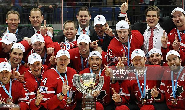 Canada celebrates the win over Finland during the 2016 IIHF World Championship gold medal game at the Ice Palace on May 22 2016 in Moscow Russia...
