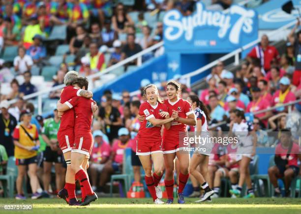 Canada celebrates vicoty in the womens cup final match between USA and Canada in the 2017 HSBC Sydney Sevens at Allianz Stadium on February 4 2017 in...
