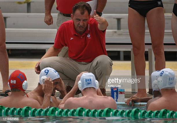 Canada coach Dragan Jovanovic talks with player during 64 loss to China in FINA World League semifinals at the USA Water Polo National Training...