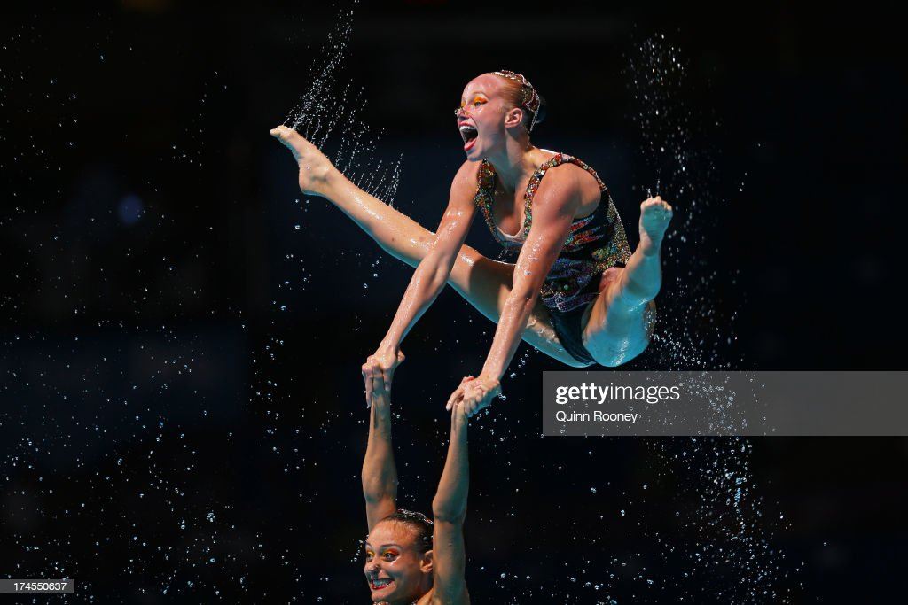 Canada compete during the Synchronized Swimming Free Combination Final on day eight of the 15th FINA World Championships at Palau Sant Jordi on July...