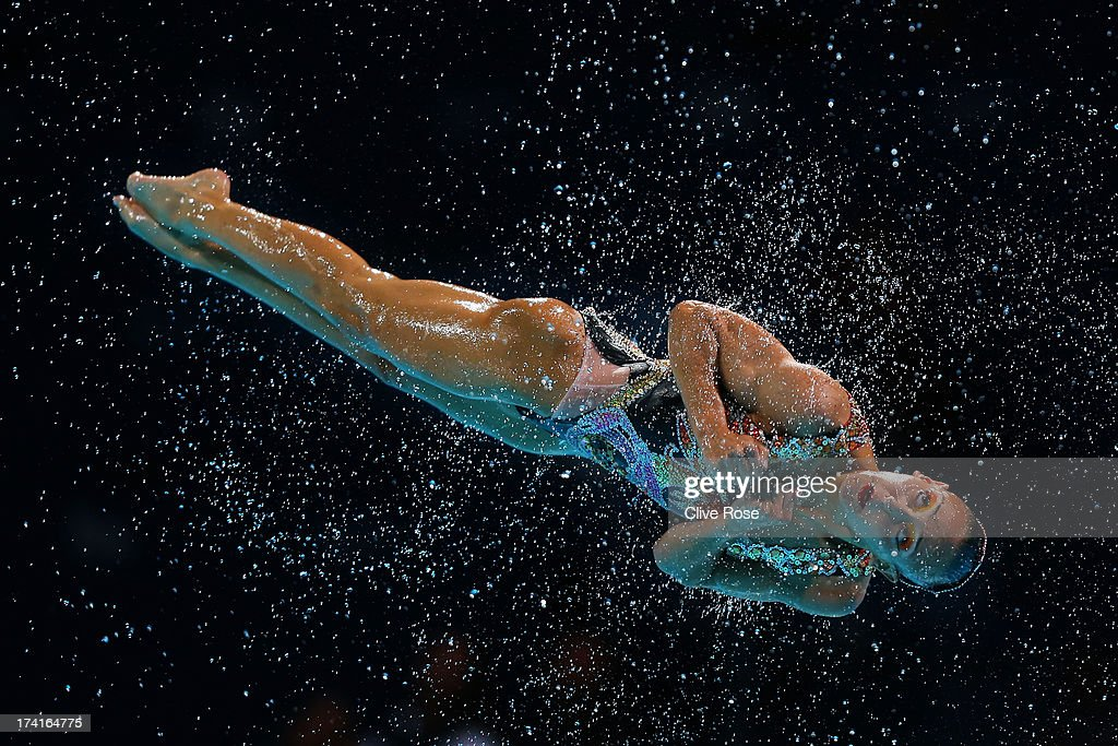Canada compete in the Synchronized Swimming Free Combination preliminary round on day two of the 15th FINA World Championships at Palau Sant Jordi on July 21, 2013 in Barcelona, Spain.