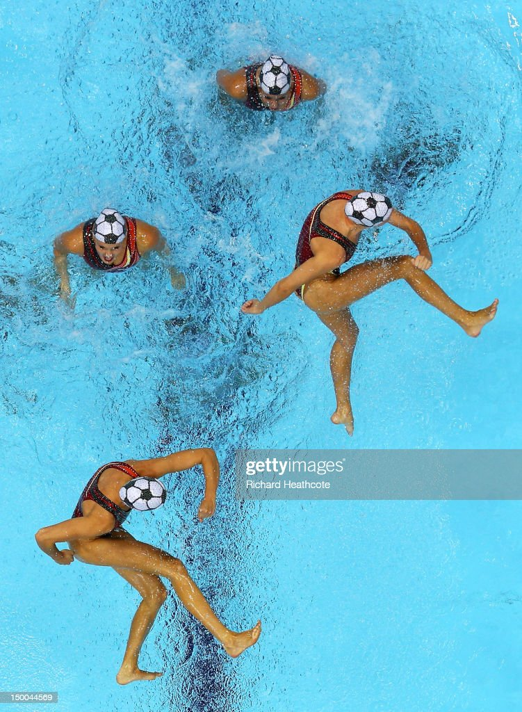 Canada competes in the Women's Teams Synchronised Swimming Technical Routine on Day 13 of the London 2012 Olympic Games at the Aquatics Centre on August 9, 2012 in London, England.