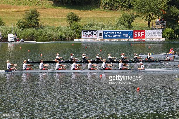 Canada competes with New Zealand in the Women's Eight Final A during Day 3 of the 2015 World Rowing Cup III on Lucerne Rotsee on July 12 2015 in...