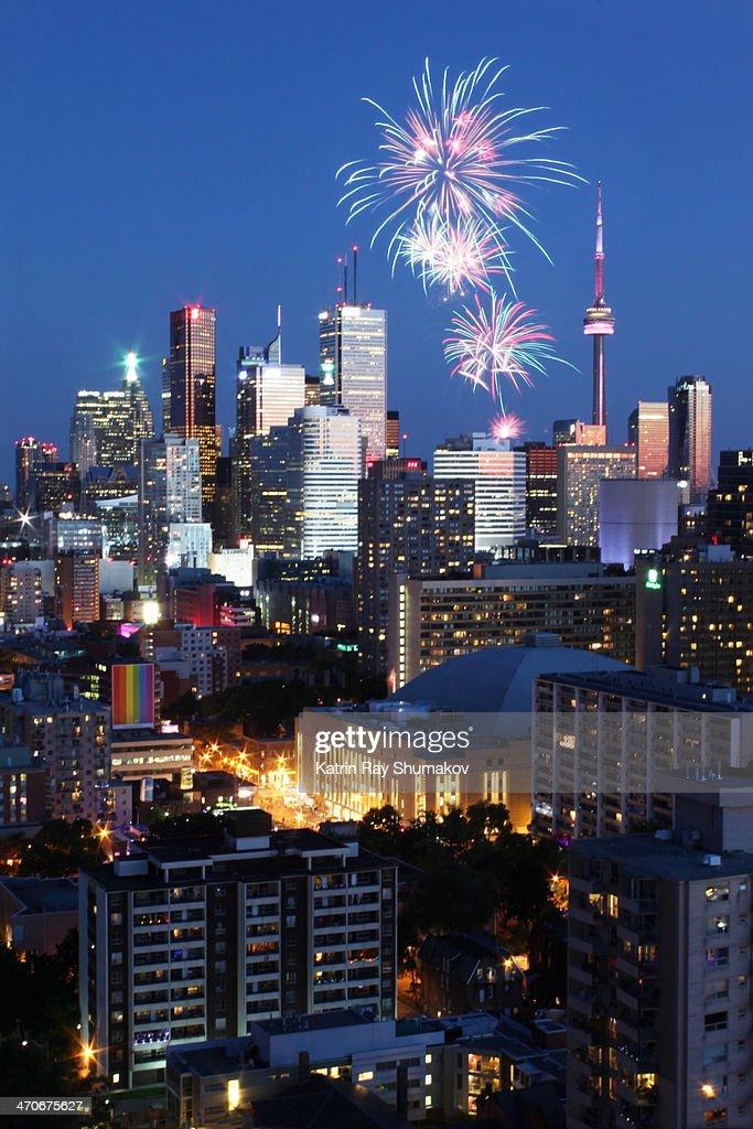 Canada Day Festivity. Blue Hour Fireworks : Stock Photo