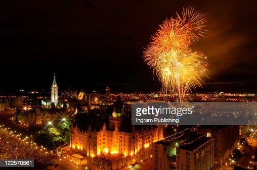 Canada Day fireworks over Ottawa, Canada. : Stock Photo