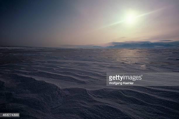 Canada Ellesmere Island Snowdrifts On Frozen Lake Hazen