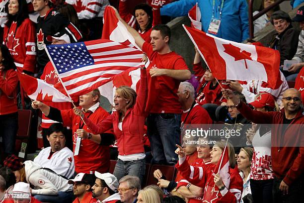 Canada fans cheer on their team during the ice hockey men's gold medal game between USA and Canada on day 17 of the Vancouver 2010 Winter Olympics at...
