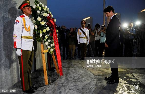 Canada First Minister Justin Trudeau during a wrathlaying ceremony at the Jose Marti monument at Revolution Square in Havana on November 15 2016 /...