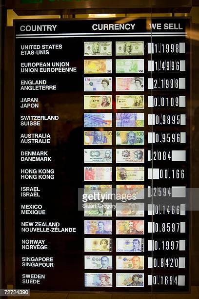 Canada, foreign exchange board showing currency values, close-up