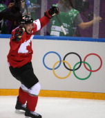 Canada forward Sidney Crosby celebrates his goal against Sweden in the second period of the gold medal men's hockey game at the Winter Olympics in...