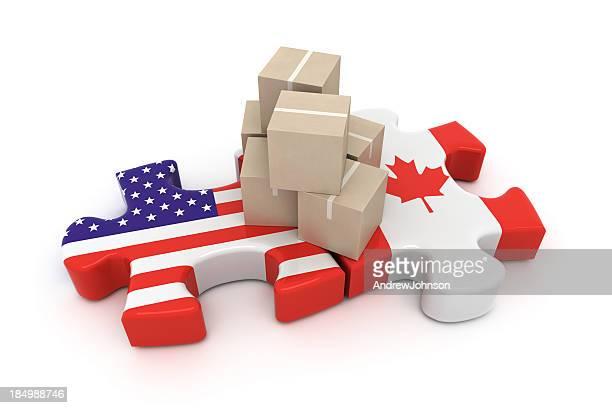 USA Canada Free Trade Concept