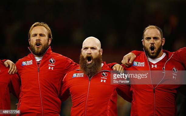 Canada hooker Ray Barkwill gets emotional during the singing of the national anthem before the 2015 Rugby World Cup Pool D match between Ireland and...