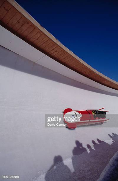 Canada II crewed by Greg Haydenluck Cal LangfordKevin Tyler and Lloyd Guss during the 4 Man Bobsleigh on 28 February 1988 of the XV Olympic Winter...