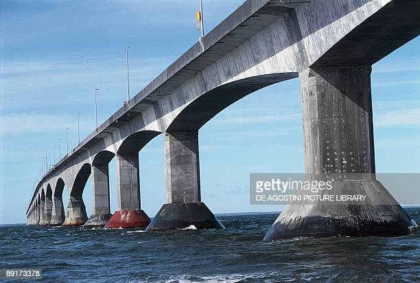 Canada New Brunswick Confederation Bridge between dry land and Prince Edward Island