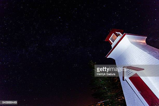 Canada, New Brunswick, Low-angle view of white lighthouse